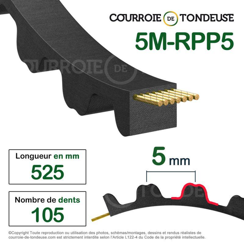 courroie dent e simple 525 5m15 courroie de tondeuse. Black Bedroom Furniture Sets. Home Design Ideas