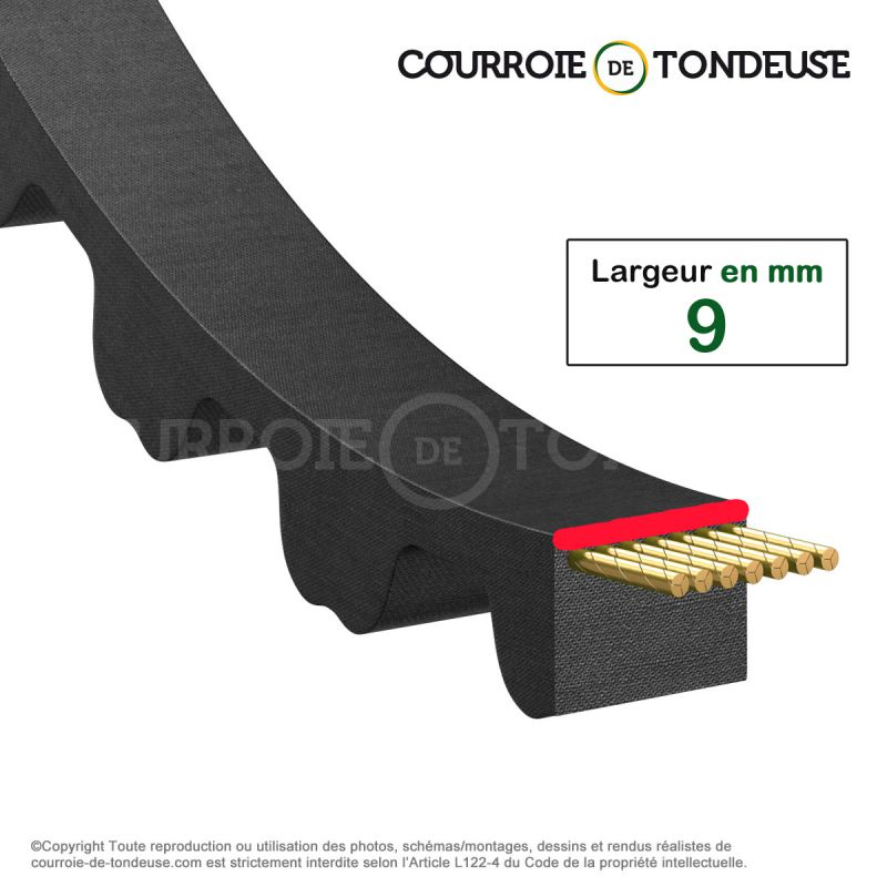 courroie dent e simple 120 5m9 courroie de tondeuse. Black Bedroom Furniture Sets. Home Design Ideas