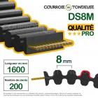 Courroie tondeuse double dentée 1600-S8M18DD qualité pro